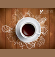coffee cup concept - eco doodles with coffe mug vector image vector image