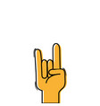 color hand with rock gesture symbol communication vector image