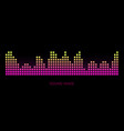 colorful sound waves on black background set vector image vector image