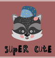 cute cartoon little raccoon childish print vector image vector image