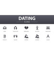 dating simple concept icons set contains such vector image