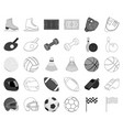 different kinds of sports monochromeoutline icons vector image
