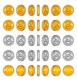 Dollar coins rotation vector image