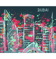 dubai cityscape with abstract watercolor splashes vector image