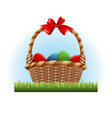 easter eggs in the basket vector image vector image