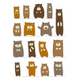 funny bears collection sketch for your design vector image