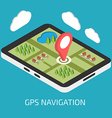 GPS mobile navigation with tablet or smartphone vector image vector image