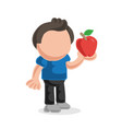 hand-drawn cartoon of man standing holding apple vector image vector image