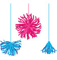 happy colorful birthday party pom poms set vector image vector image
