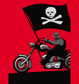hard man on a stylish motorcycle with a black flag vector image