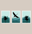 japanese crane abstract art set with watercolor vector image
