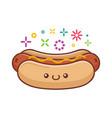 kawaii smiling hot dog icon cartoon vector image