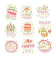 Kids Birthday Party Entertainment Promo Signs Set vector image vector image