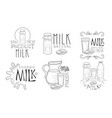 natural milk hand drawn retro labels set daily vector image