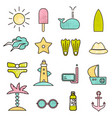 outline icons with summer sign summer icons vector image