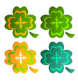 paper art form of a green clover for st vector image vector image