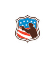 Policeman Silhouette Pointing Gun Flag Shield vector image vector image