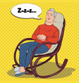pop art senior man sleeping in chair grandfather vector image vector image