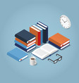 reading books isometric vector image