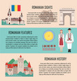 romania banner set with sights features history vector image vector image