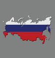 russia map with the russian flag vector image vector image