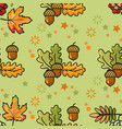 seamless pattern with acorns berries and leaves vector image
