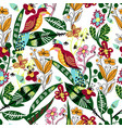 Seamless pattern with bird leaves and flowers