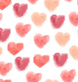 seamless watercolor hearts pattern vector image vector image