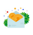 sending money by mail in an envelope vector image