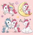 set cute cartoon unicorns vector image vector image