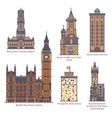 set famous european castle and towers vector image vector image