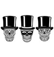 set of mexican sugar skull in vintage hat and vector image vector image