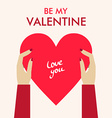 St Valentines day greeting card in flat style vector image