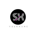 sx letter logo design with white lines and black vector image