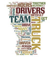 team truck drivers text background word cloud vector image vector image