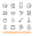 thin line household icons set vector image vector image