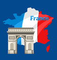 triumphal arch on map france vector image vector image