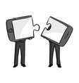 two businessmen connecting mobile phone puzzle vector image