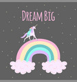 unicorn walking on rainbow with sleeping girl vector image