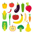 vegetables and fruit set for smoothie hipster vector image vector image
