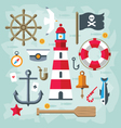 Vintage flat Retro Nautical Elements vector image