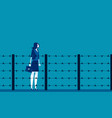 woman and fence barbed wire concept business vector image vector image