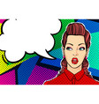 woman face in pop art style vector image