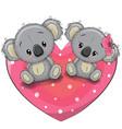two cute koalas on a heart vector image