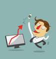 Businessman jump in the air with arrow increase vector image