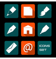 Stationery and art icons vector image