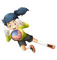 A female soccer player with the United States flag vector image vector image