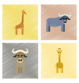 assembly flat shading style icons giraffe bull vector image vector image
