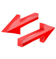 back and next red arrows 3d shiny signs vector image vector image