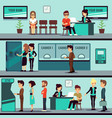 bank office interior with people clients and bank vector image vector image